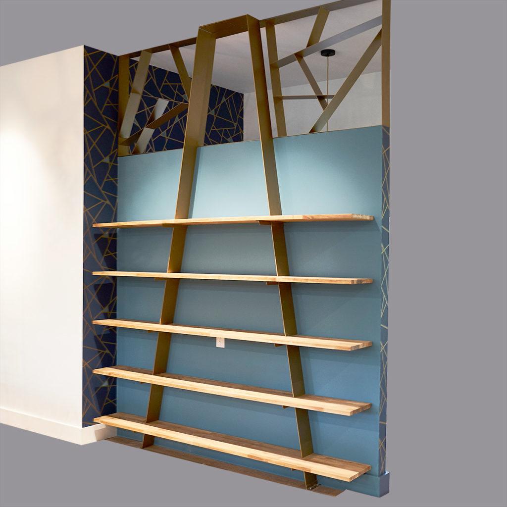 room divider, bookcase, bookshelf, custom fabrication, custom entry way bookcase, metal fabrication, custom entry way room divider