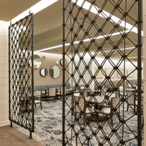 custom metal and rope weave divider, room divider, weaved rope, custom fabrications, custom metalwork, custom metal fabrication, architectural detail