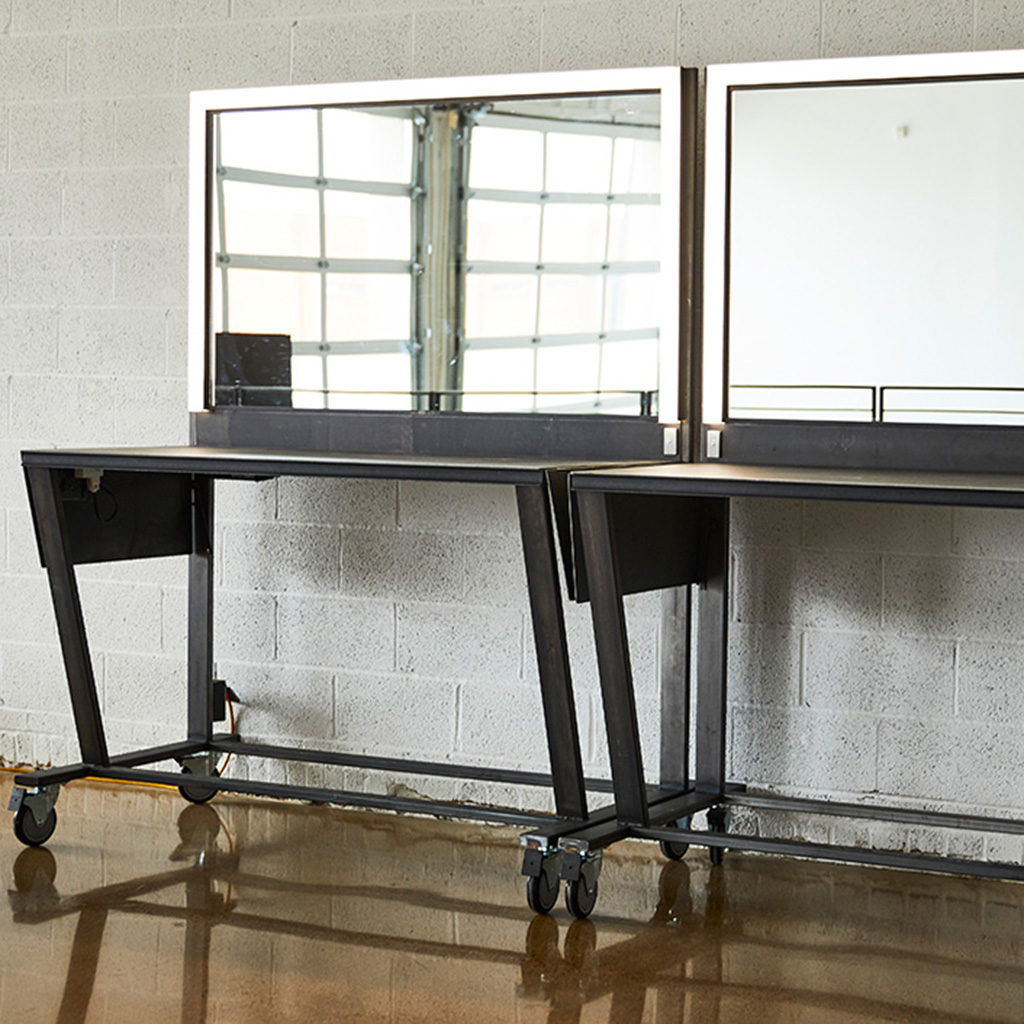 Custom Metal Railing, Custom Hand Rail, custom metal work, metal fabrication, stairs, railing, make up table, custom make up table, light table, custom light table