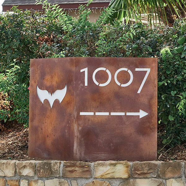 address signage, address sign, street address signage, custom metal fabrication, metalwork, patina