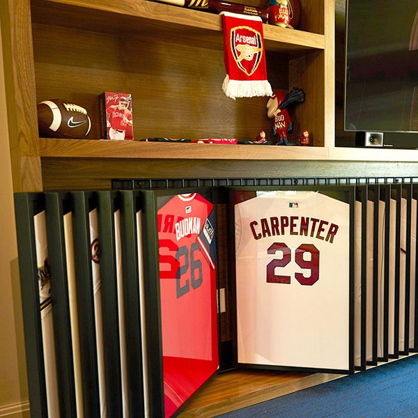 Former pro MLB player's personal jersey and memorabilia collection display, jersey display, custom collectables display, metalwork, custom metalwork, custom metal fabrication,