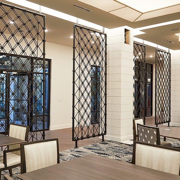 Custom Metal and Woven Rope Room Dividers, custom metalwork, metal fabrication, room divider