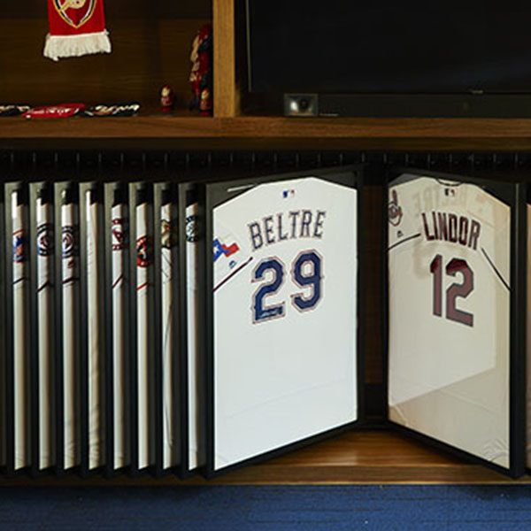 custom jersey display, met fabrication, custom metal fabrication, personal jersey collection, sports memorabilia, metalwork, custom metal work